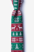 Red Microfiber Less Ugly Christmas Sweater Skinny Tie