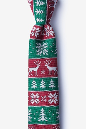 Less Ugly Christmas Sweater Red Skinny Tie