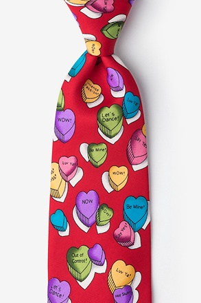 Little Candy Hearts Red Extra Long Tie