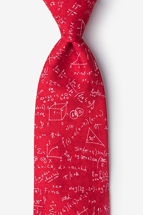 _Math Equations Red Extra Long Tie_