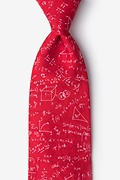 Red Microfiber Math Equations Tie