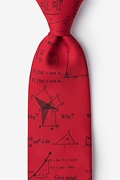 Red Microfiber Mathematics Extra Long Tie