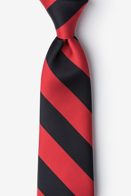 Red & Black Stripe Extra Long Tie Photo (0)