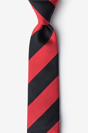 _Red & Black Stripe Skinny Tie_