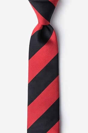 Red & Black Stripe Skinny Tie