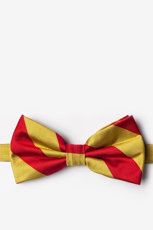 Red & Gold Stripe Pre-Tied Bow Tie Photo (0)