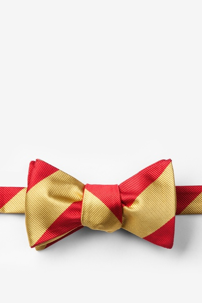 Red Microfiber Red & Gold Stripe Self-Tie Bow Tie