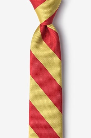 _Red & Gold Stripe Tie For Boys_