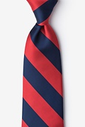 Red Microfiber Red & Navy Stripe Extra Long Tie