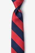 Red Microfiber Red & Navy Stripe Tie For Boys