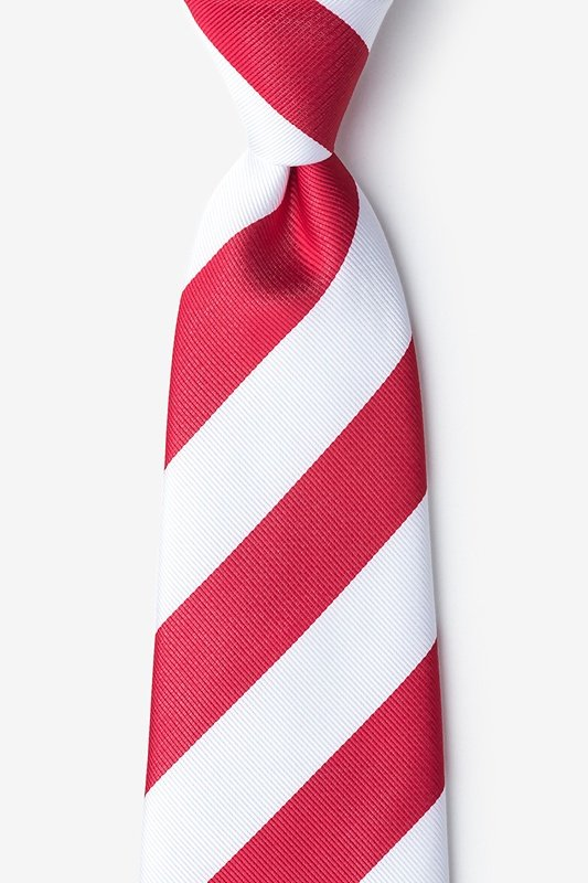Red & White Stripe Extra Long Tie Photo (0)