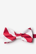 Red Microfiber Red & White Stripe Pre-Tied Bow Tie