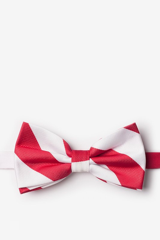 Red & White Stripe Pre-Tied Bow Tie Photo (0)