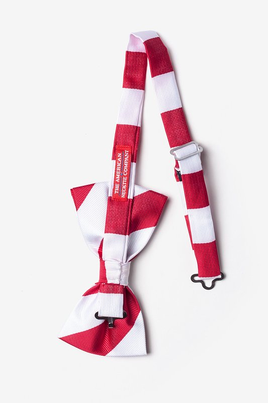Red & White Stripe Pre-Tied Bow Tie Photo (1)