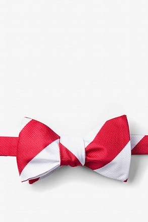 _Red & White Stripe Self-Tie Bow Tie_