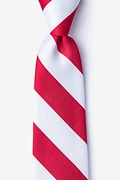Red Microfiber Red & White Stripe Tie