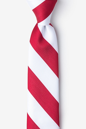 _Red & White Stripe Tie For Boys_