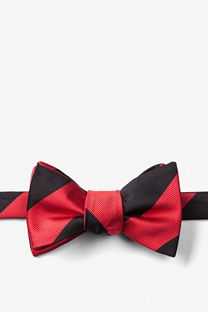 Red & Black Stripe Self-Tie Bow Tie