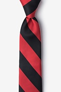 Red Microfiber Red & Black Stripe Tie For Boys