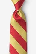 Red Microfiber Red & Gold Stripe Extra Long Tie