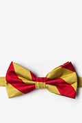 Red Microfiber Red & Gold Stripe Pre-Tied Bow Tie