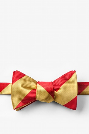 Red & Gold Stripe Self-Tie Bow Tie