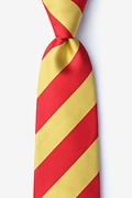 Red Microfiber Red & Gold Stripe Tie