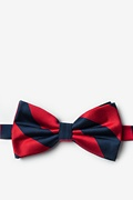 Red Microfiber Red & Navy Stripe Pre-Tied Bow Tie
