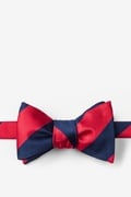 Red Microfiber Red & Navy Stripe Self-Tie Bow Tie