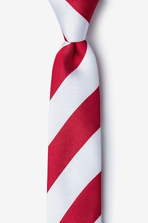 Red & White Stripe Skinny Tie