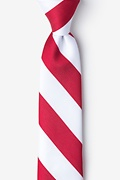 Red Microfiber Red & White Stripe Tie For Boys