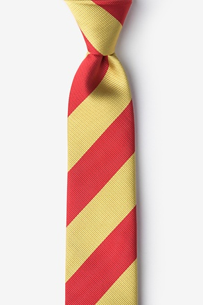 Red And Gold Stripe Skinny Tie