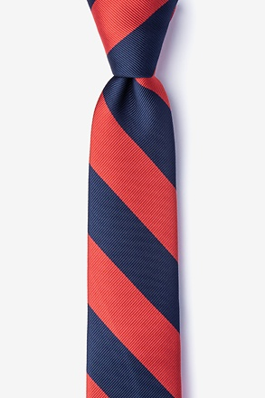 Red And Navy Stripe Skinny Tie