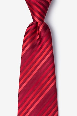 Red Tonal Stripe Extra Long Tie