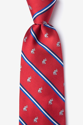 Republican Party Elephant Stripe Red Extra Long Tie