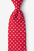 Red Microfiber Tossed Hearts Tie