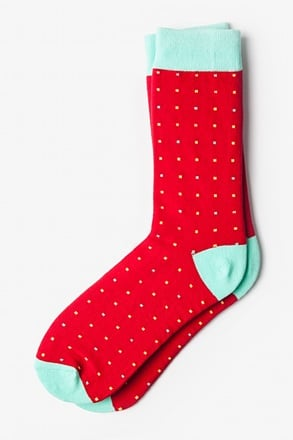 _Long Beach Dots Red Orange Sock_