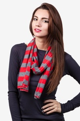 Red Polyester Caravan Stripe Scarf
