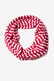 Red Polyester Carnival Stripe Red Infinity Scarf