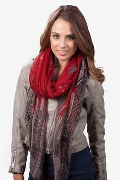 City Skyline Red Scarf