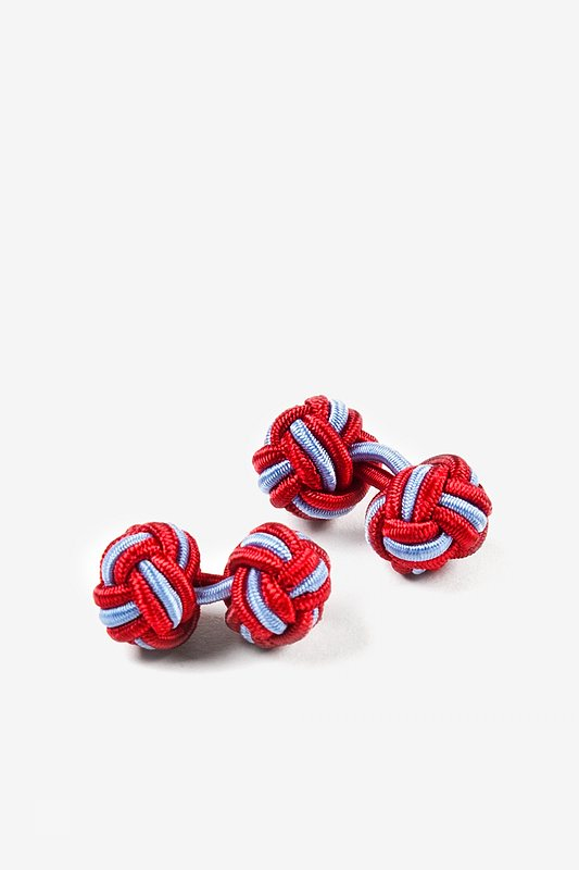 Red and Light Blue Knot Cufflinks Photo (0)