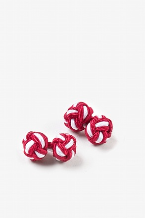 Red And White Knot Cufflinks