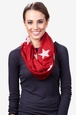 Red Polyester Rising Stars Infinity Scarf