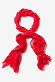 Red Polyester Star Studded Scarf