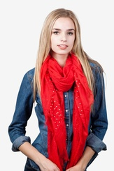 Red Polyester Taza Studded Scarf