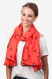 Red Polyester Velvet Anchors Scarf