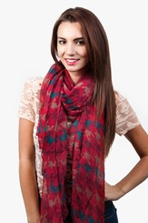 Red Polyester Veronica Scarf