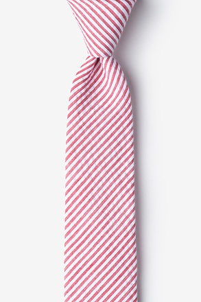 _Red Kensington Seersucker Skinny Tie_