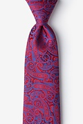 Red Silk Buta Extra Long Tie