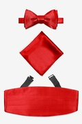 Red Silk Candy Apple Red Self Tie Bow Tie Cummerbund Set